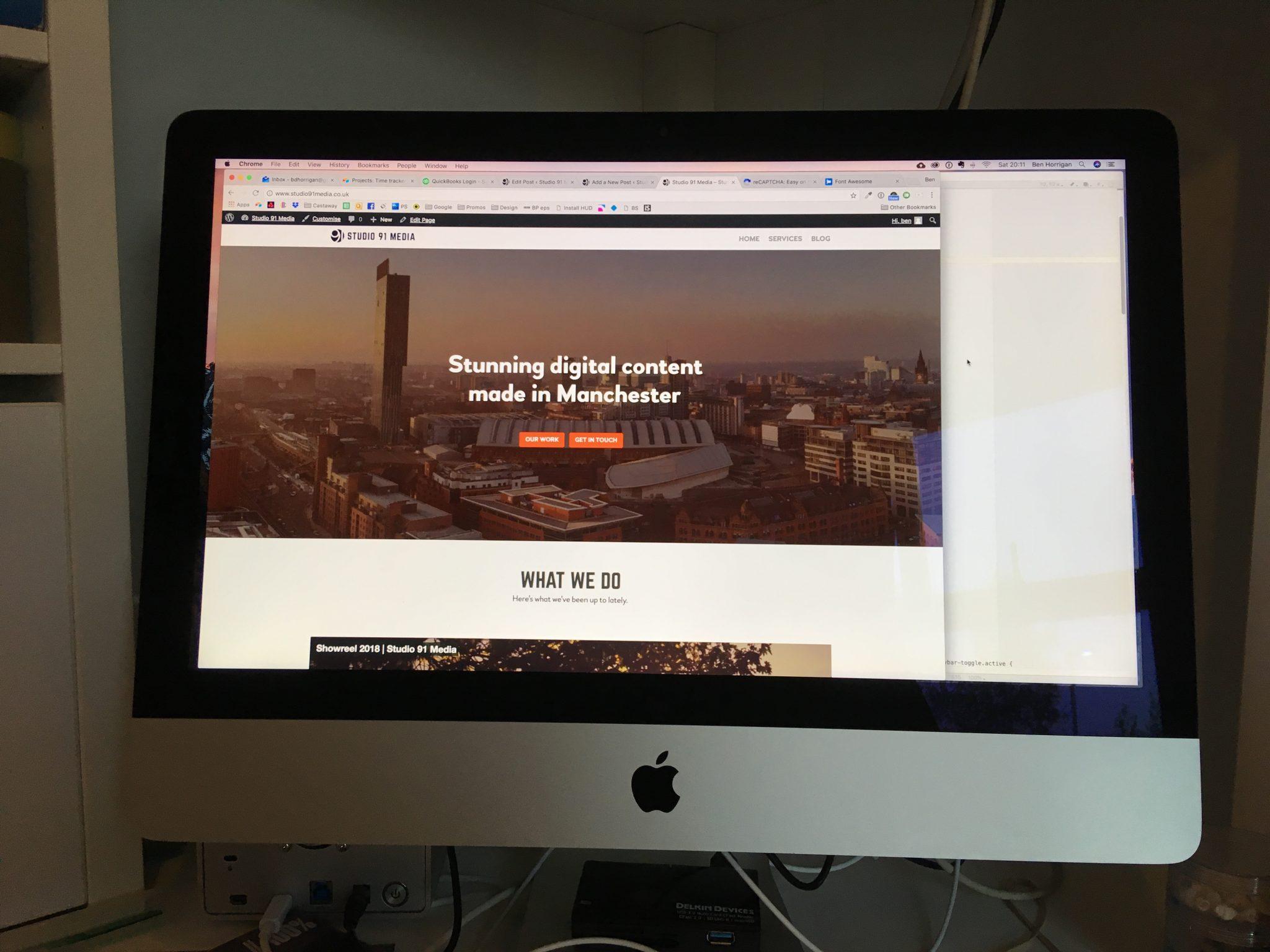 Apple iMac screen displaying Studio 91 Media website