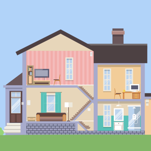 A 2D illustration of a home.