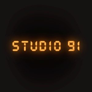 Studio 91 in neon orange digital letters.