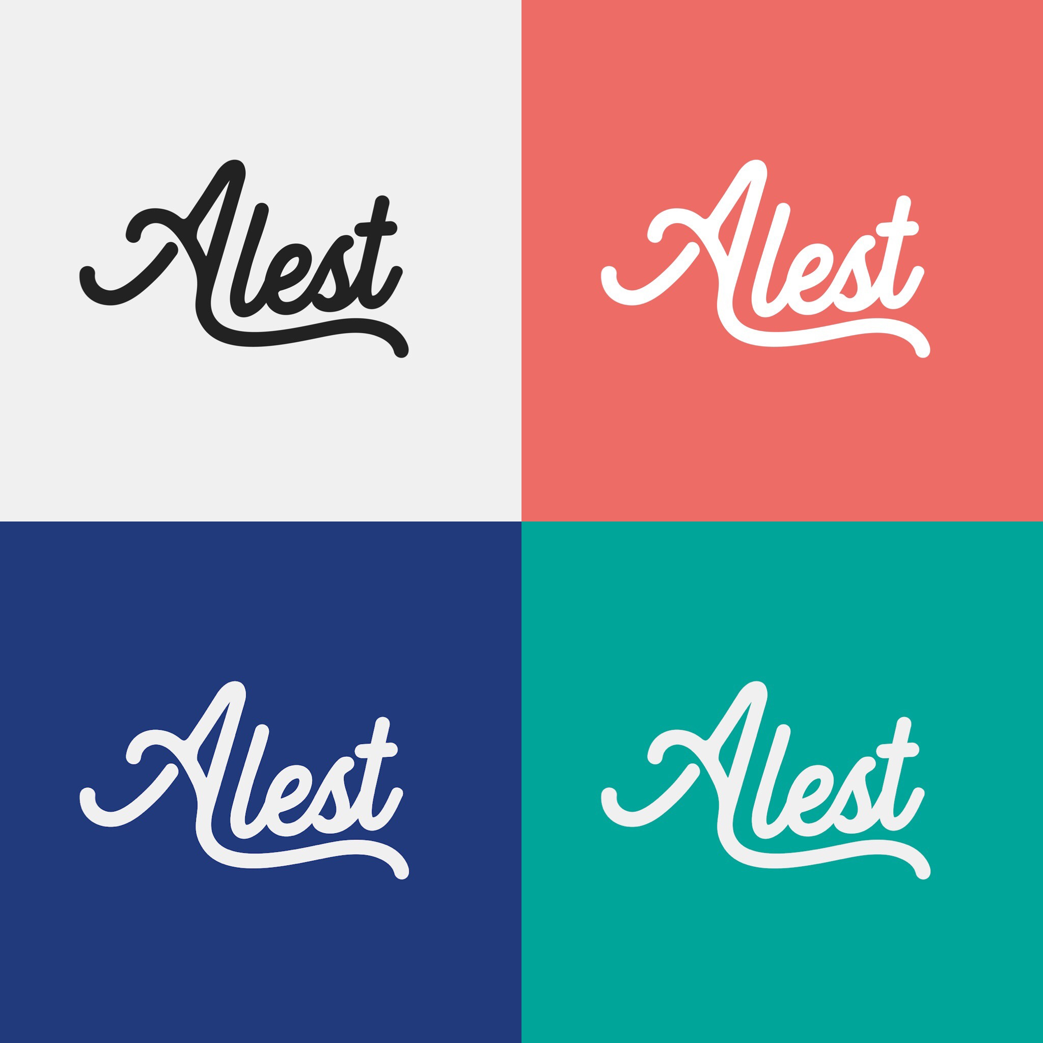 Alest Accountants logo in four different colour schemes