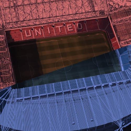 Old Trafford and Etihad Stadium.