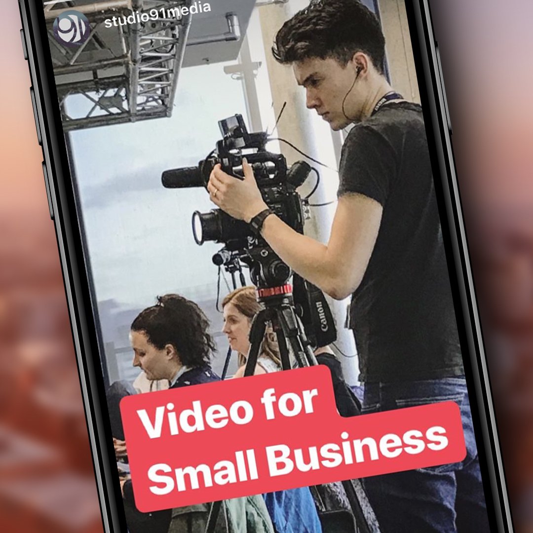 Video for small business: Ben Horrigan filming an event.