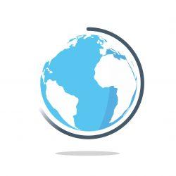 A globe graphic.