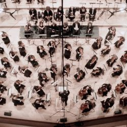 Wide shot of the BBC Philharmonic orchestra from above