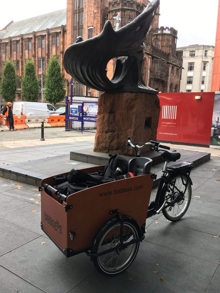 A cargo bike in Manchester filled with video production equipment