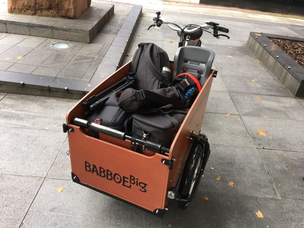 A cargo bike filled with camera kit