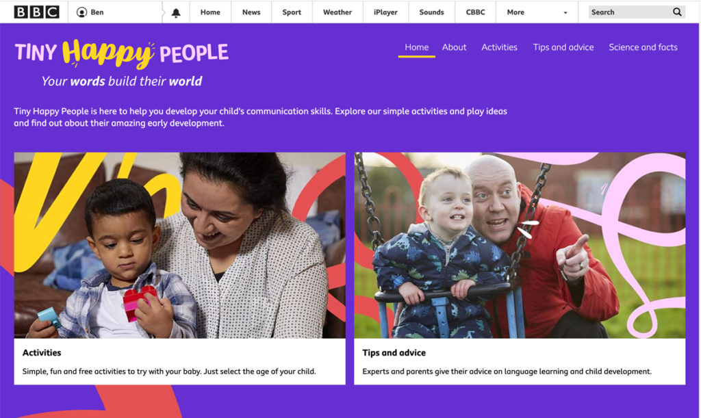 The BBC Tiny Happy People website