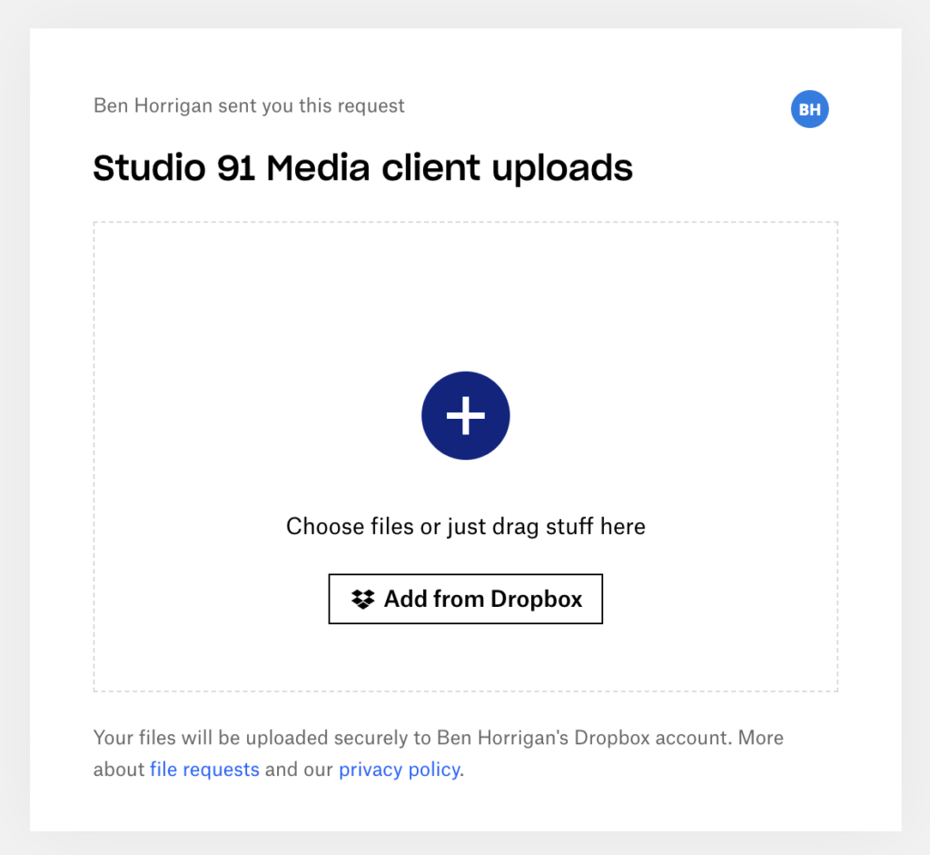 Screenshot of Dropbox file request page, for gathering self-shot video footage