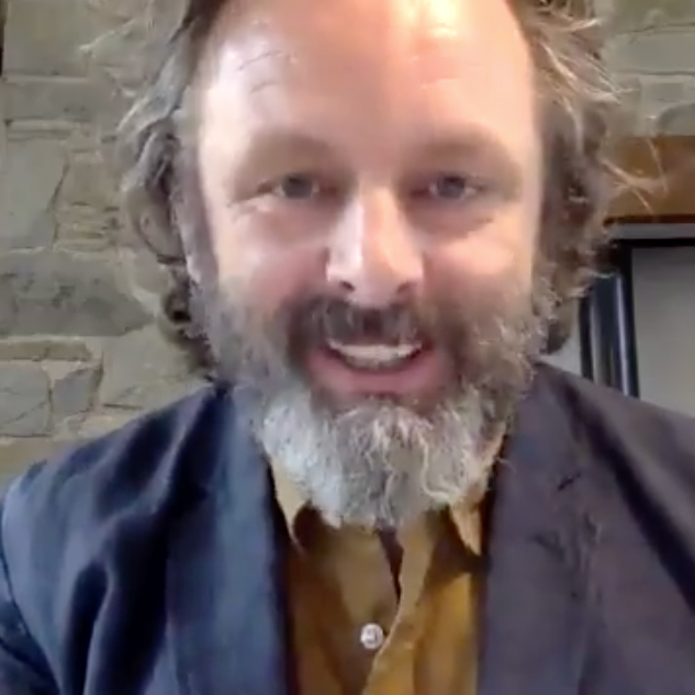Michael Sheen on a Zoom call