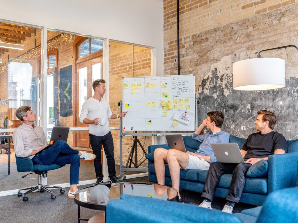 A brainstorm meeting in a trendy office
