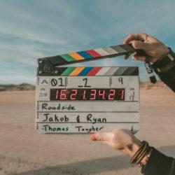 A clapperboard on a film set