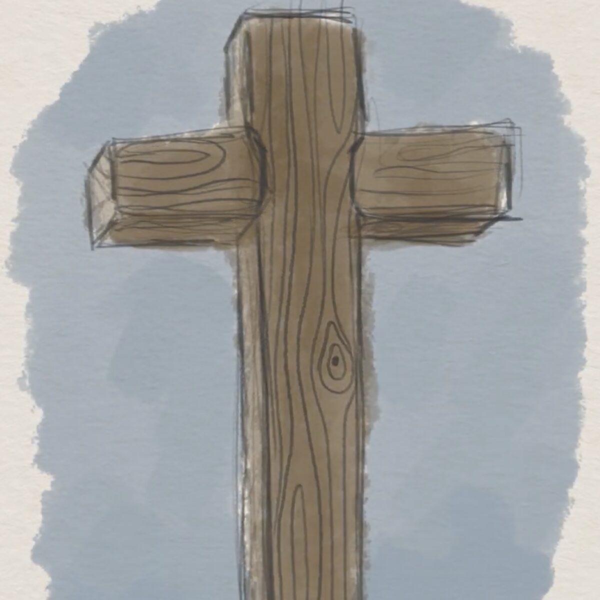 Illustrated wooden cross